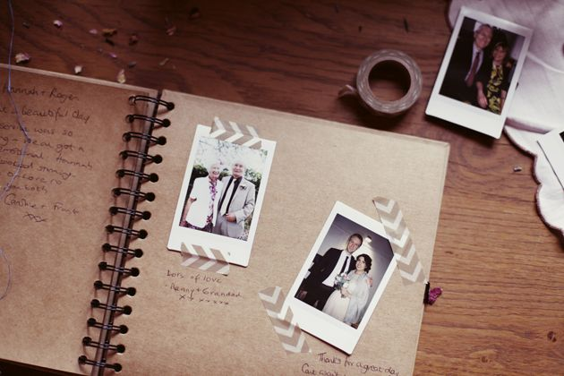 cute polaroid guest book + washi tape! | Photos by http://www.rebeccaweddingphotography.co.uk/ - see the full wedding here: http://bridalmusings.com/2013/08/colourful-vintage-barn-wedding-rebecca-wedding-photography/