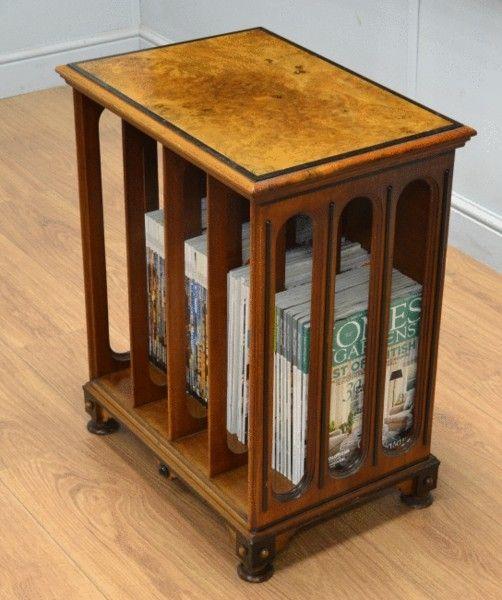 OnlineGalleries.com - Victorian Arts & Crafts Antique Walnut Folio Stand / Magazine Rack / Side Table.