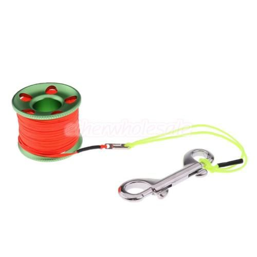 100ft Finger Reel with Stainless Steel Bolt Snap Scuba Diving Water Spool