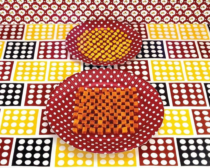 """In 1978, Sandy Skoglund did what every parent instructs their children never to do: she played with her food—and then she photographed it. The resulting series of giddy still-life images includes """"Cubed Carrots and Kernels of Corn"""" and is on view at the Ryan Lee gallery through August 11. Photograph courtesy the Artist/Ryan Lee Gallery."""