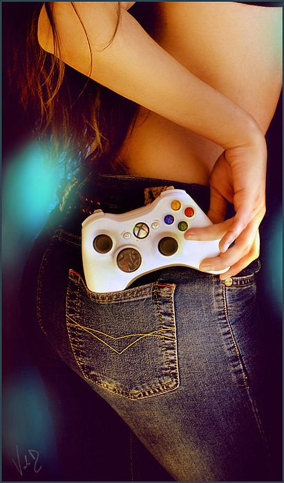 Sexy gamer girls ride the joystick