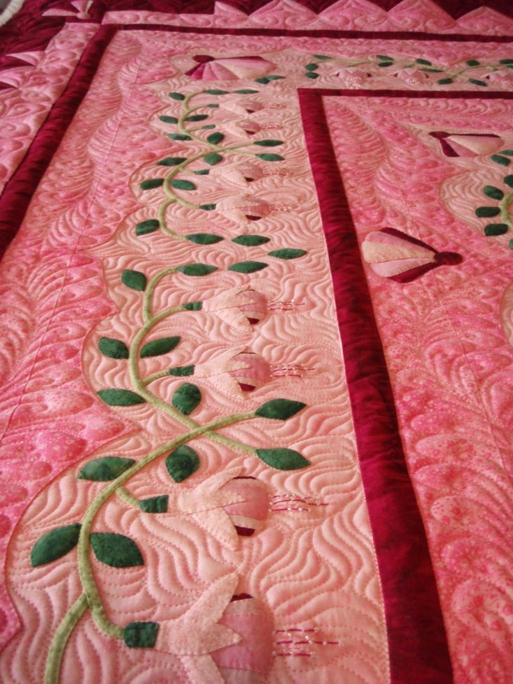 Sweet Pink Fuchsia Quilt Hand Appliqued With Tiny Seed Beads So My Kind Of