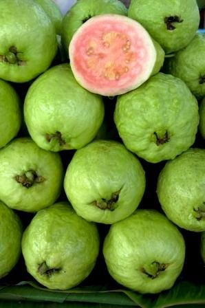 Step 4:The guava has a is a dark green or yellow if its ripe. Has a pale pink center, the seeds are tightly embedded in the flesh. The skin is thick, firm and sweet.