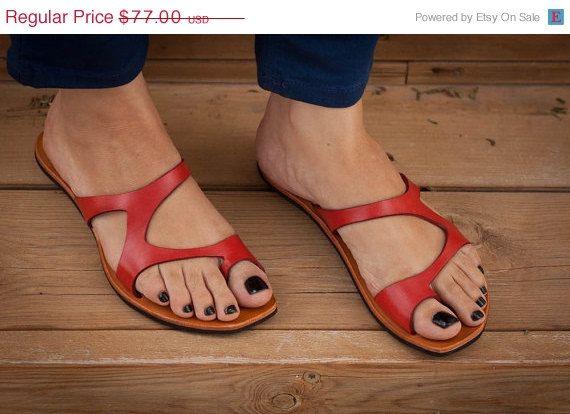 Rood lederen sandalen rode sandalen asymmetrische door BangiShop