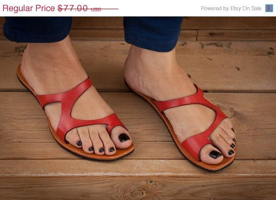Red Leather Sandals Red Sandals Asymmetric Sandals by BangiShop