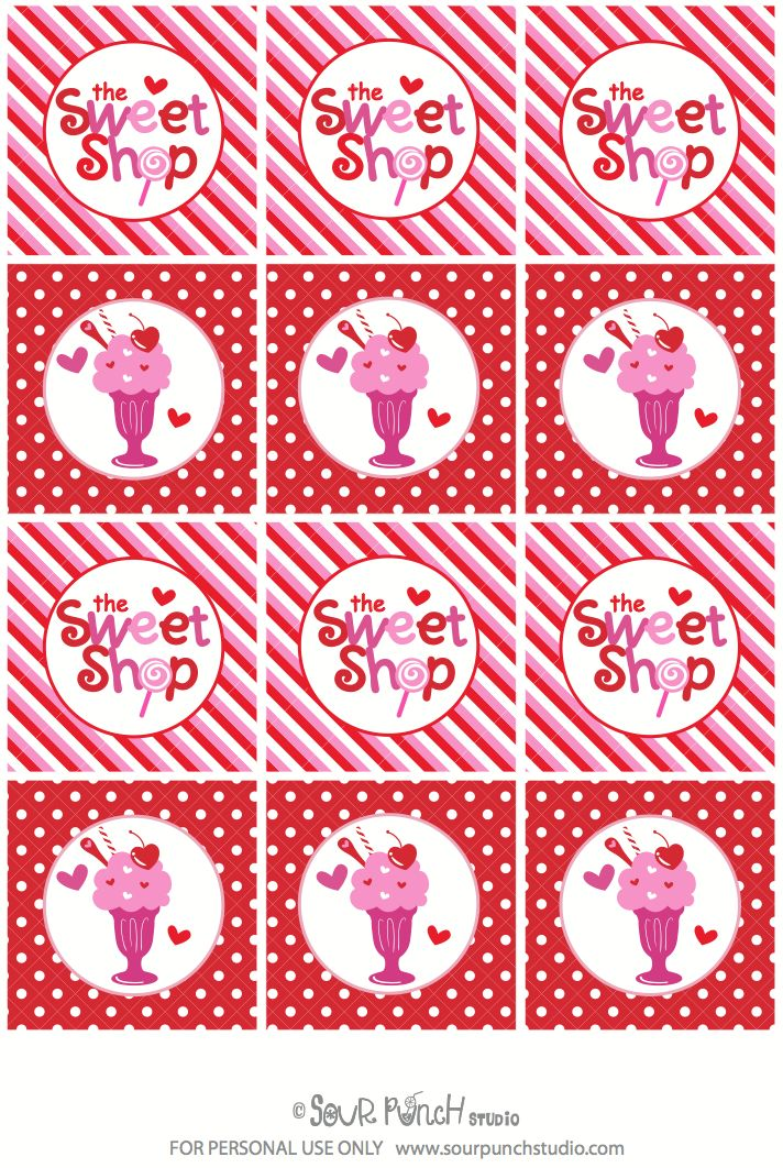 FREE Valentine's Day TAGS & Cupcake Toppers via Kara's Party Ideas karaspartyideas.com #free #valentine's #tags #toppers