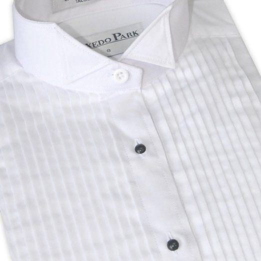 Women's Pleated Wing Collar Tuxedo Shirt (02)