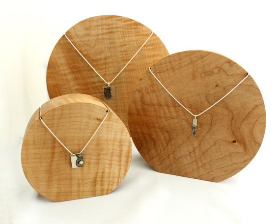 Round Wooden Maple Necklace Jewellery Display Bust Set of three
