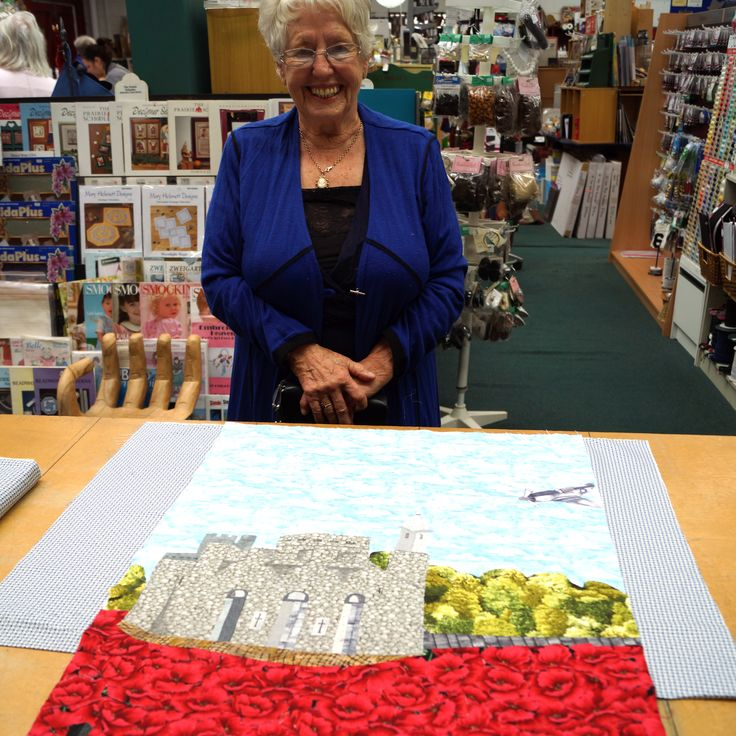 Poppy Art Quilt in progress during one of Catherine Bell's UFO classes