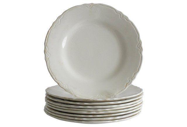 Cream Dinner Plates w/ Edge Detail, S/9