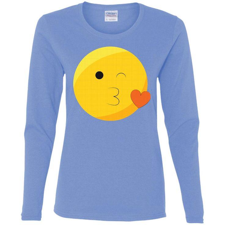 Eyes Closed Kiss Face Emoji T Shirt (2) G540L Gildan Ladies' Cotton LS T-Shirt