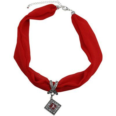 Alabama Crimson Tide Scarf Necklace with Pendant - Crimson