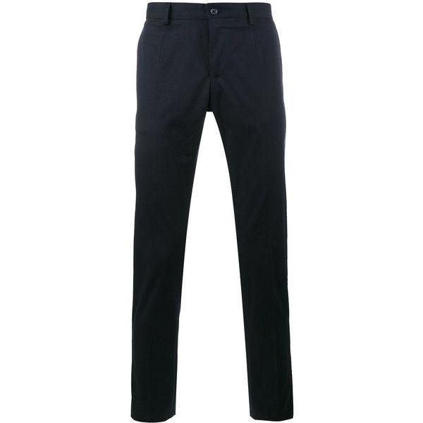 Dolce & Gabbana Velvet striped cotton trousers ($550) ❤ liked on Polyvore featuring men's fashion, men's clothing, men's pants, blue, mens tuxedo stripe pants, mens elastic waistband pants, mens zip off pants, mens zipper pants and mens cotton pants