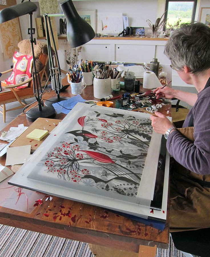 Angie Lewin works on separations for a large screenprint