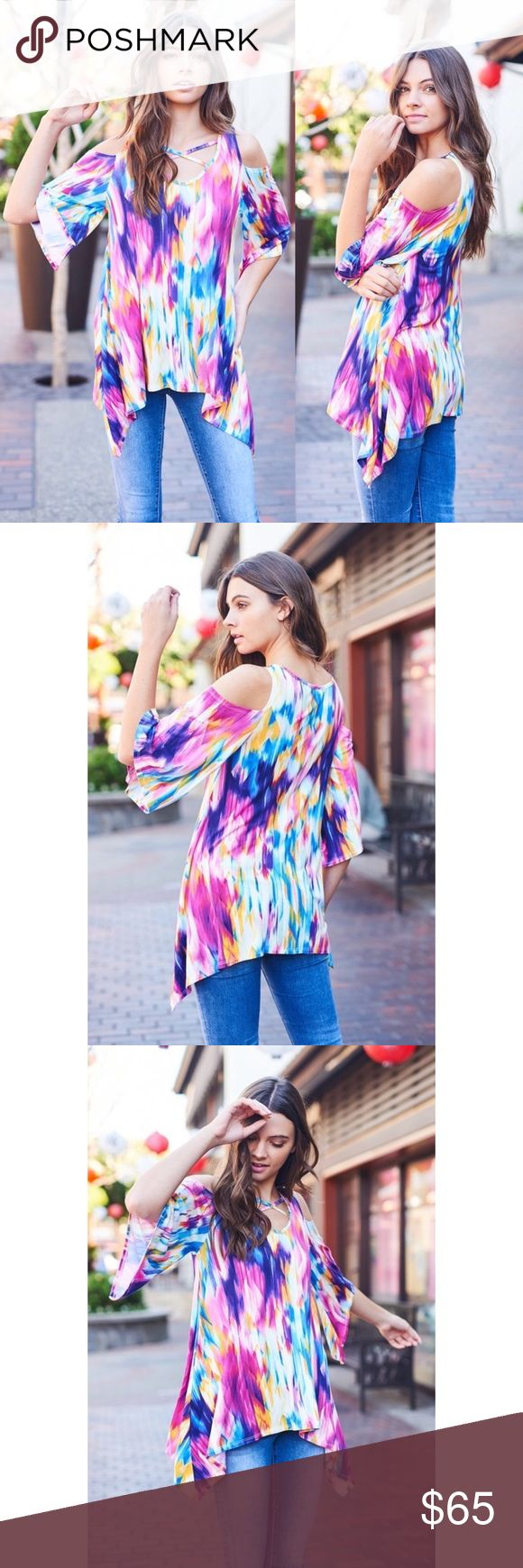 🍭 Watercolor Cold Shoulder Criss Cross Top 🌸 Arriving soon 🌸  🇺🇸 MADE IN USA  💗 Watercolor top featuring cold shoulders and criss cross front.  💗 Color may slightly vary according to device color calibration and lighting (indoor/outdoor/time of day) 💗 Polyester/Spandex  Blend 💗 Hand wash cold water, hang dry Tops