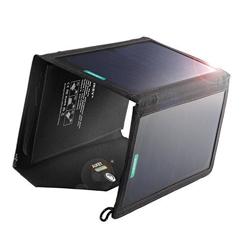 Solar Charger, AUKEY 20W Dual USB Port Solar Panel for Apple iPhone 6s 6 Plus, Android, Samsung, HTC, LG, Nexus,and more (Foldable, Portable, Fast Charging Technology)