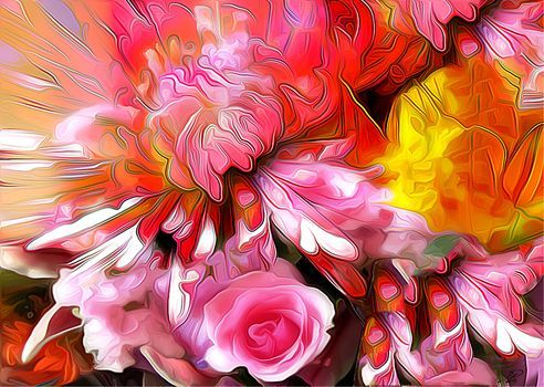 absztrakció, virágok, virágos absztrakció, Rendering, Art, színes, festékek, paletta