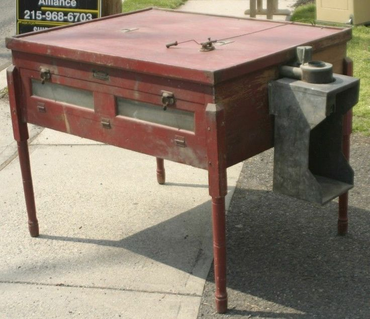 Antique Farm Table With Original Red Paint Chicken Egg