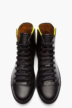 MARC JACOBS Black Leather High-Top Sneakers