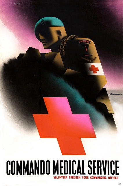 """Abram Games  """"Commando Medical Service - Volunteer Through Your Commanding Officer"""" ~ WWII UK recruitment poster illustrated by Abram Games."""