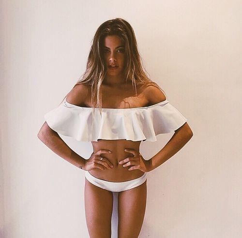 Womens Push Up Flounce Flutter Bikini Top + Bottom Swimwear Swimsuit Set