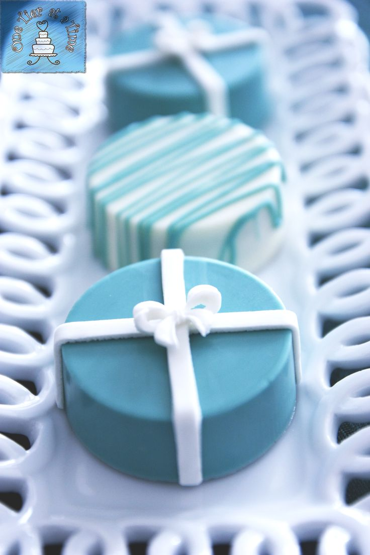 Tiffany themed dessert table created by One Tier At A Time - chocolate covered oreos
