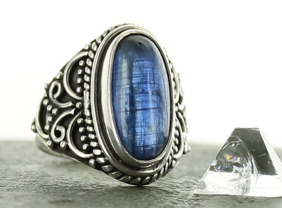 Kyanite and silver ring. Size 6. Natural stone