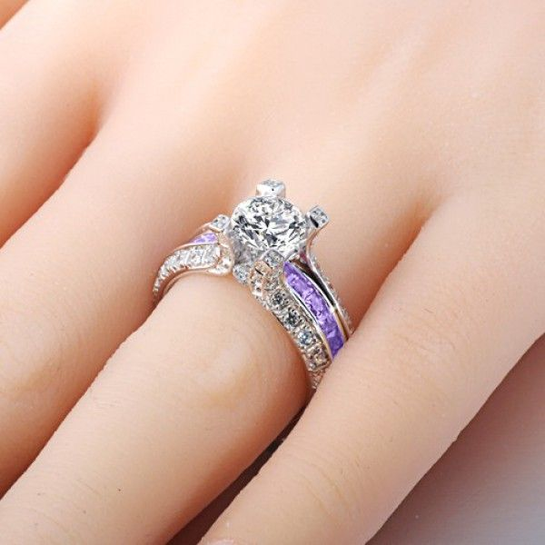brilliant cut lilac amethyst two in one rhodium plating sterling silver engagement ring - Colored Wedding Rings