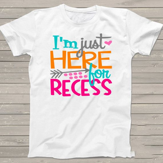 Personalized First Day of School tshirt - Back to School Shirt - Girls I'm Just here for the Recess T-Shirt - m2000