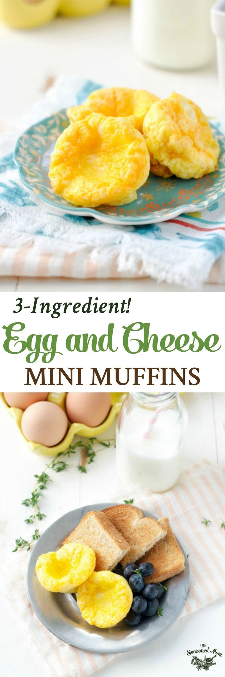 These 3-Ingredient Egg and Cheese Mini Muffins are a great make-ahead, healthy toddler breakfast or snack. Keep a stash in your refrigerator or freezer and reheat as necessary -- they're like portable, mess-free scrambled egg cups!
