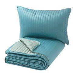 IKEA - KARIT, Tagesdecke+Kissenbezug, 180x280/40x65 cm, , Besonders weich und angenehm, da Tagesdecke und Kissenbezüge im Steppmuster wattiert sind.Tagesdecke mit einer hellen und einer dunklen Seite - so lässt sich der Stil im Schlafzimmer variieren.Der Kissenbezug mit verdecktem Reißverschluss lässt sich leicht abnehmen.Einfach zu transportieren und unterzubringen, da die Verpackung gleichzeitig Schutzhülle bei der Aufbewahrung ist.
