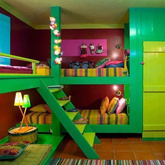 Vibrant kids room with built in bunk beds?my girls would love this six girls with big imagination