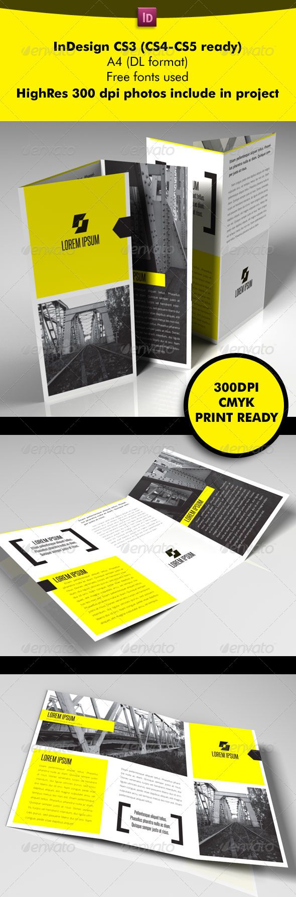 Yellow Square 3-Fold  #GraphicRiver             Details   Fully Editable Indesign file  Letter and A4 files include  300 dpi  CMYK