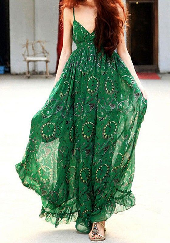 Green Floral Condole Belt Bohemian Chiffon Maxi Dress