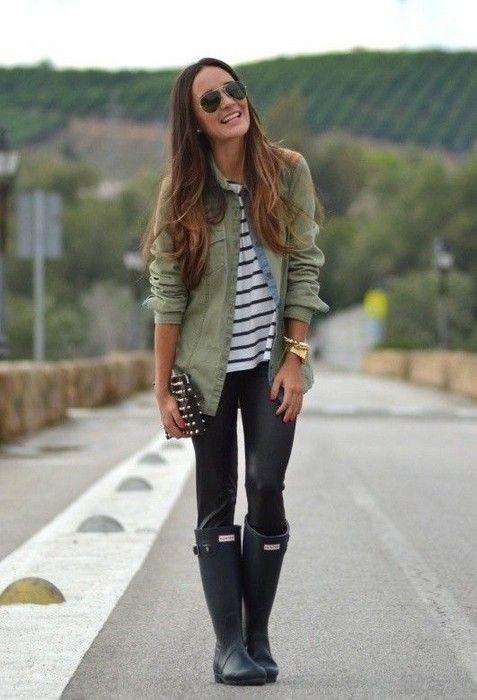 20 Looks with Rainboots Glamsugar.com Hunter rain boots