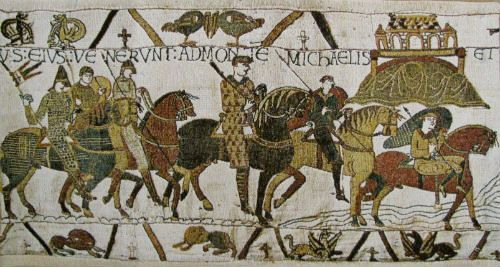 The Mont St Michel tapestry shows the Norman troops of Duke William passing by the mount. A Belgian tapestry in three sizes.