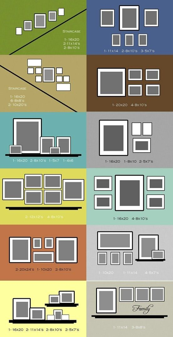 Photo frame layout suggestions. - I like the 4th down on the left and bottom right for the wall with chair and/ or loveseat. Put her glass nicknacks on shelf