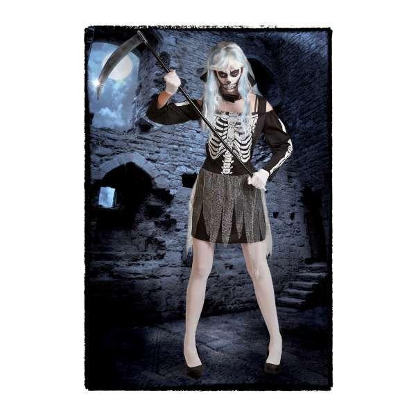 DisfracesMimo, disfraz de esqueleto barato mujer talla m/l.Para mujer en la fiesta de terror.  En halloween pueden perderse por tus huesos si vistes este disfraz sexy con pinceladas de glamour.Este disfraz es ideal para tus fiestas temáticas de disfraces miedo y esqueletos para mujer adultos.