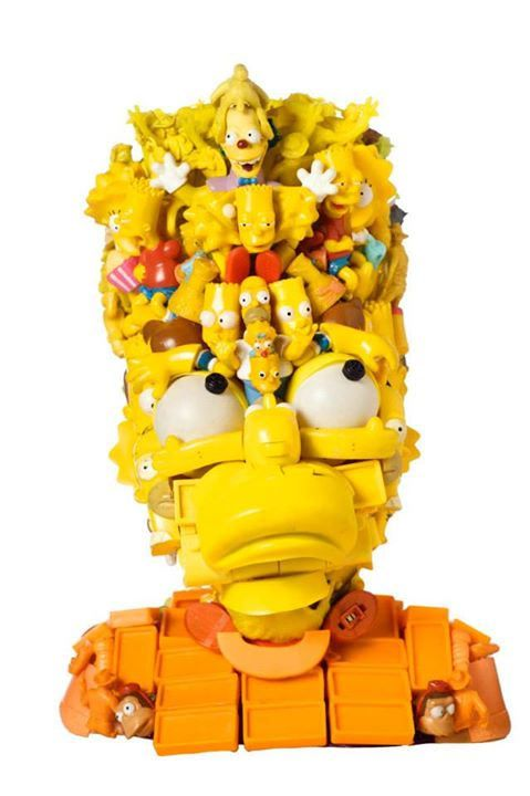 Arcimboldo in salsa pop: le sculture di Freya Jobbins  #artecontemporanea #Simpsons
