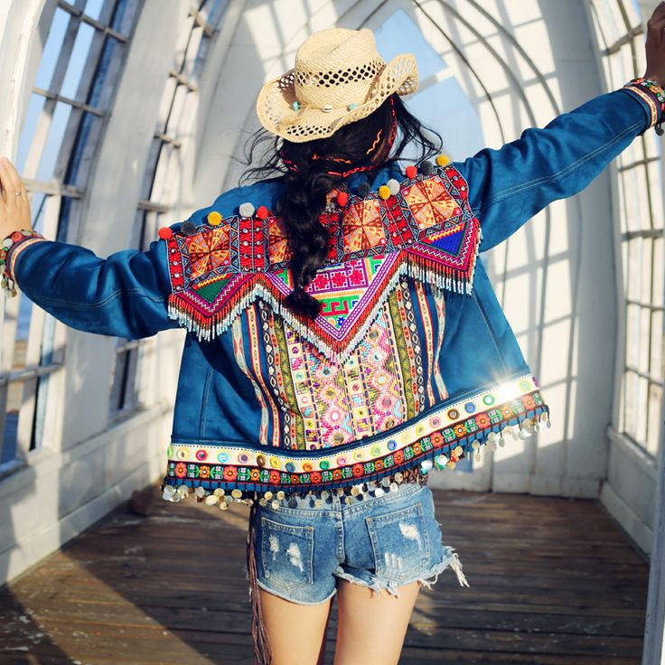 Bohochic Vintage ethnique bohème népal manteau en jean