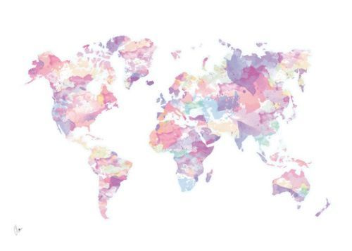 Watercolour World Map (pink) Art Print by Clover                                                                                                                                                                                 More
