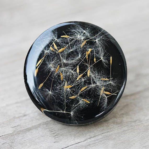 Make a wish resin ring real dandelion seed ring big elegant