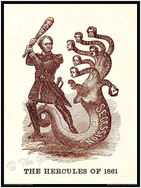 Civil War print - General Winfield Scott - The Anaconda Plan