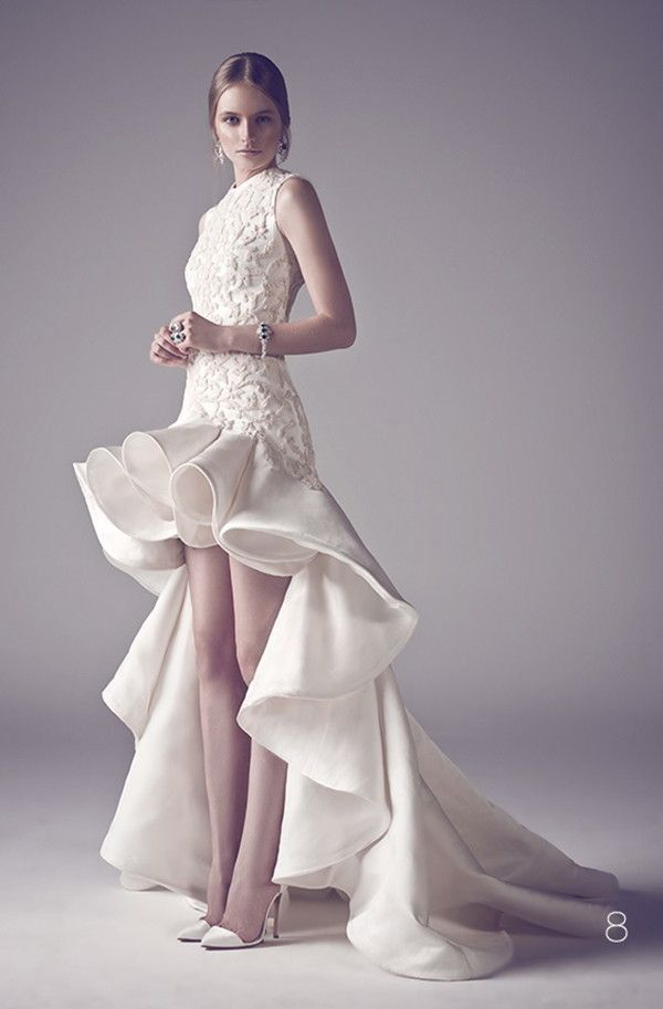 Sexy high-low bridal gown in satin with ruffles | Ashi Studio Fall 2015 Couture Wedding Dresses via @WorldofBridal