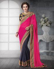 Grey & Rani Pink Color Georgette Festival & Function Wear Sarees : Avnisha Collection YF-36775