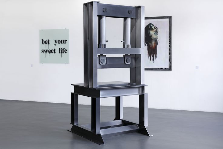 "Rupert Norfolk, Guillotine, 2007; Monica Bonvicini, Bet Your Sweet Life, 2010; Richard Hawkins, Disembodied Zombie George White, 1997. ""The Crime Was Almost Perfect"", Witte de With Center for Contemporary Art, Rotterdam 2014, photo by Aad Hoogendoorn"