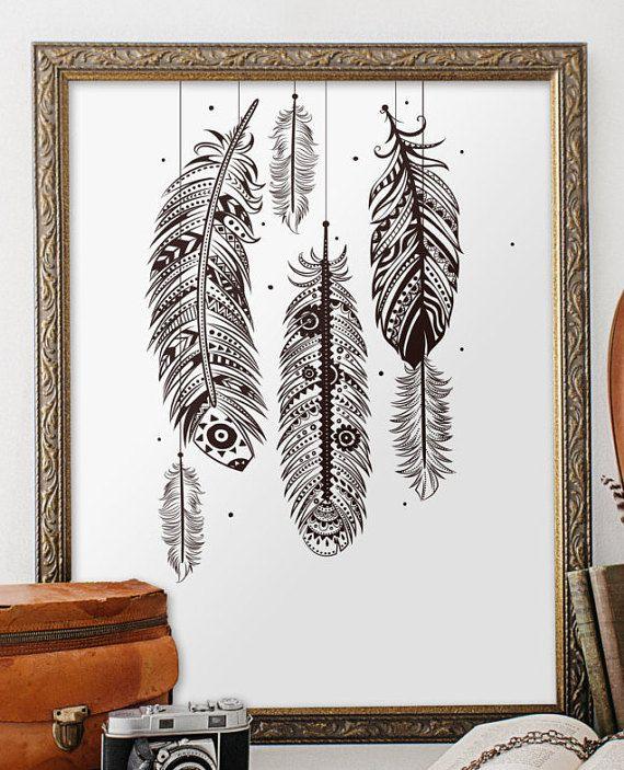Bohemian Feather Wall Stencil Reusable Stencils For Home: 25+ Best Bohemian Wall Art Ideas On Pinterest