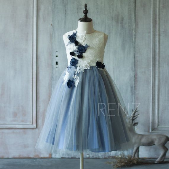 2016 Steel blue Junior Bridesmaid Dress, White High neck Flower Flower Girl Dress, Rosette dress, Puffy dress (SK178)