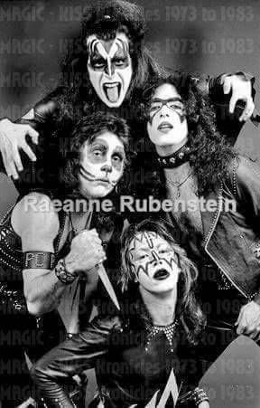 "KISS - Early! photo of KISS when they changed their appearance from a ""New York Dolls"" look to the full face ""Kabuki"" style makeup. This was taken prob. around 72 - 73."