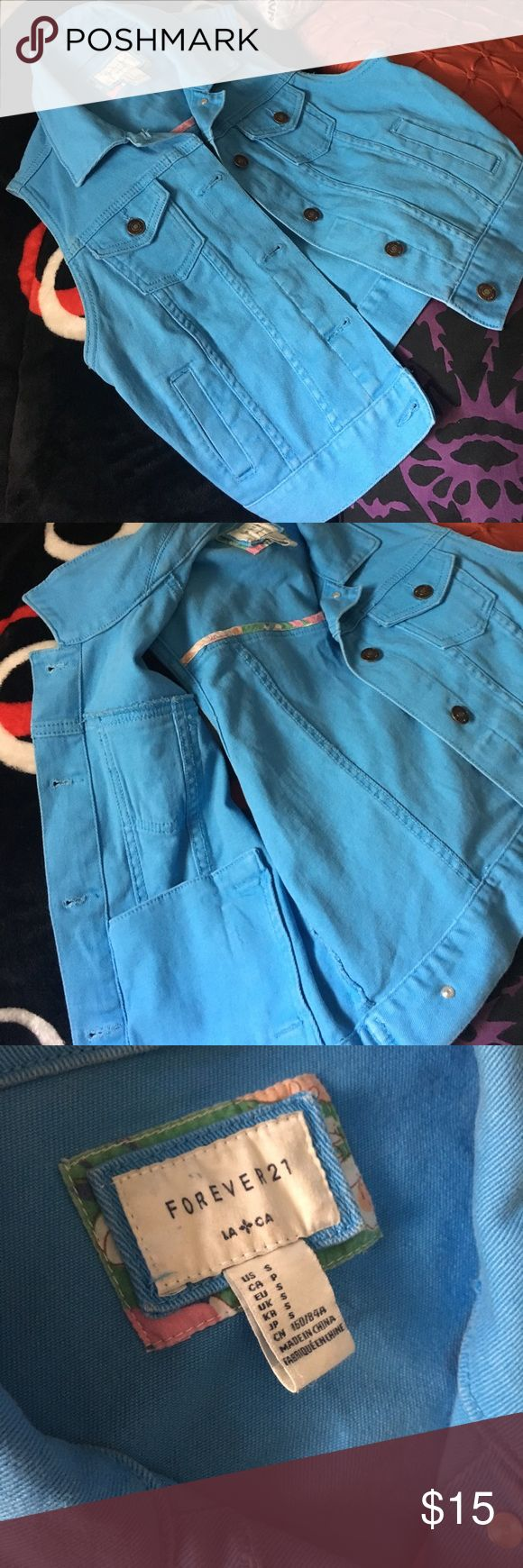 Blue Jean Vest Jean best perfect for summer! Size small. No flaws. Not a true jean vest, it's colored blue with a faded look. Forever 21 Jackets & Coats Vests